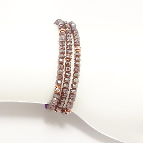 Rosybrown/Rose-Gold Crystal Triple Wrap Bracelet