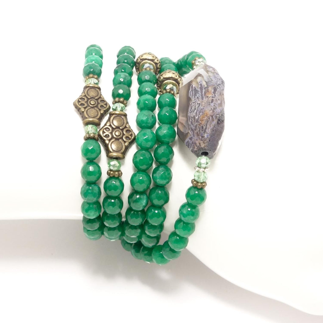 Green/Antique Gold Beaded Wrap Bracelet