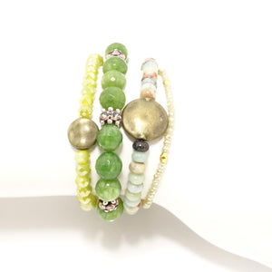 Green Beaded Bracelet Bundle