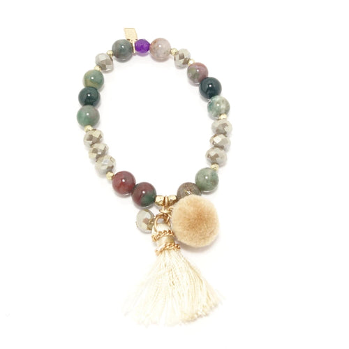 Tan Tassel/Pom-Pom Beaded Bracelet