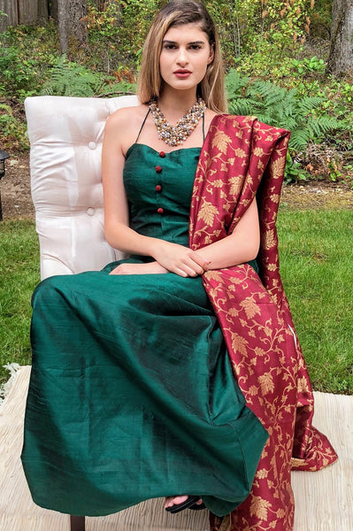 Royal Raw Silk Versatile Gown