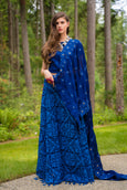 3 Piece Royal Blue Patchwork Lehenga Set
