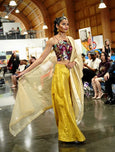 3 Piece Yellow/Gold Lehenga with Burgundy Brocade Blouse