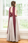3 Piece Grey Banarasi Lehenga with Navy Blue/Bronze Jacquard Top