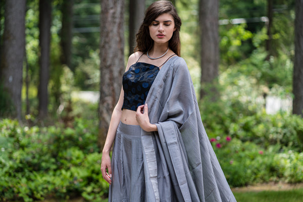 3 Piece Grey Silk Lehenga with handmade bead border