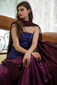 Purple Jacquard Blazer with Dark Dusty Magenta Sequin Lehenga