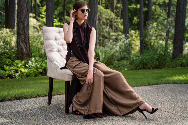 3 Piece Burgundy/Black Gown with Brown Palazzo