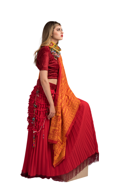 Red Pleated Lehenga