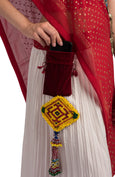 White Red Double Layered Pleated Lehenga