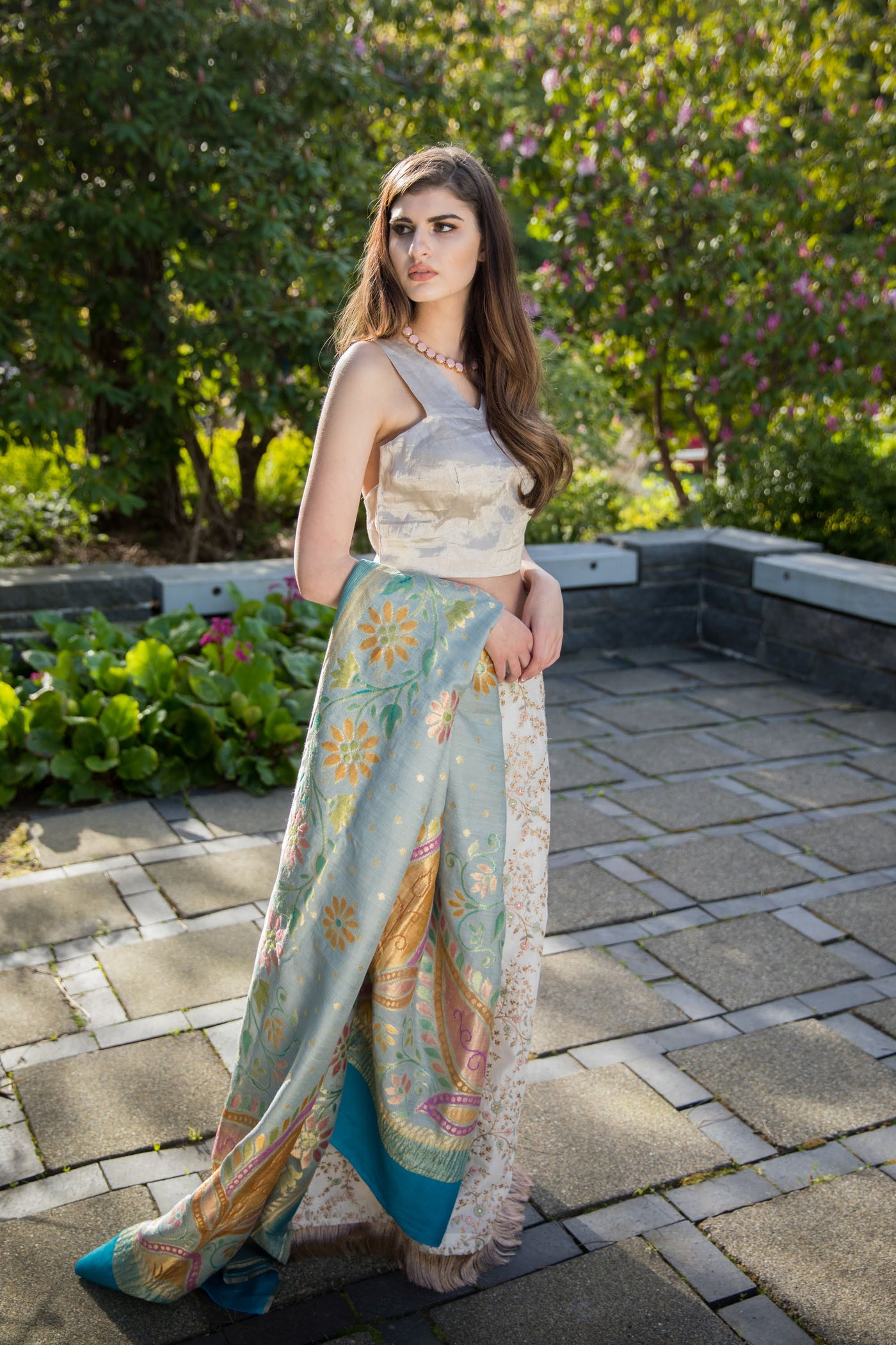 3 Piece Pastel Embroidery Lehenga with dusty silver/gold Blouse Set