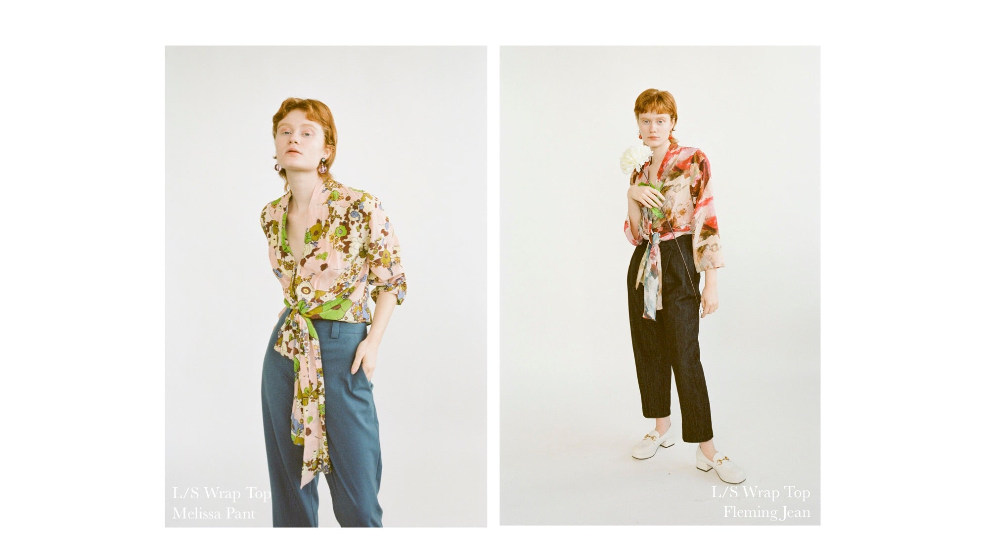 WRAY PF20 Lookbook: mod floral silk Wrap Top