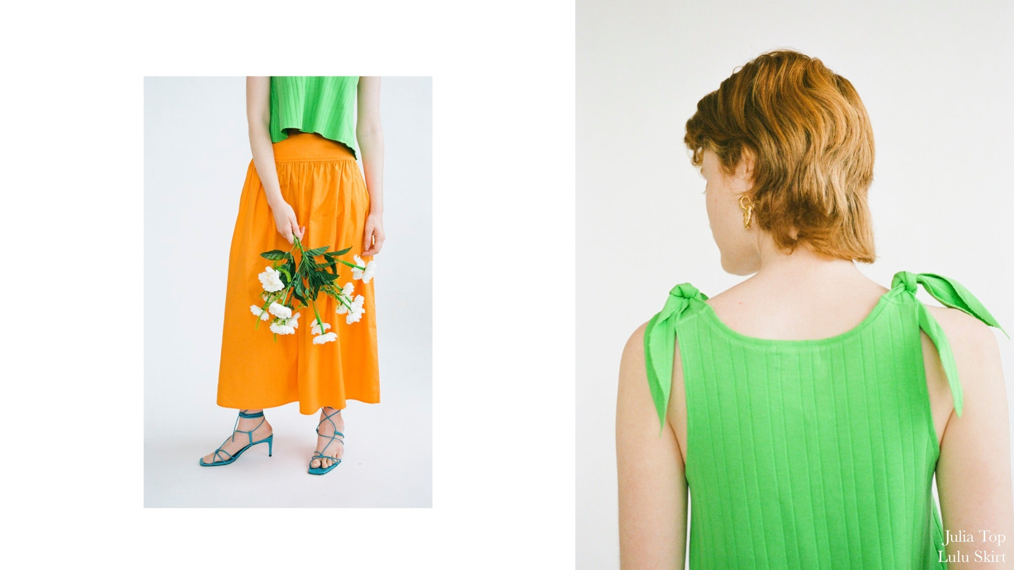 WRAY PF20 Lookbook featuring the carrot orange Lulu Skirt and cucumber green Julia Tank