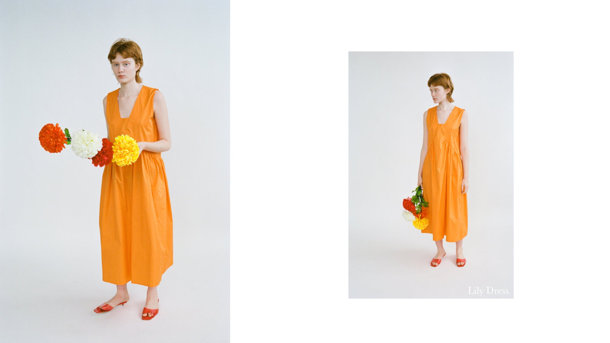 WRAY PF20 Lookbook featuring the Lily Dress in carrot orange poplin