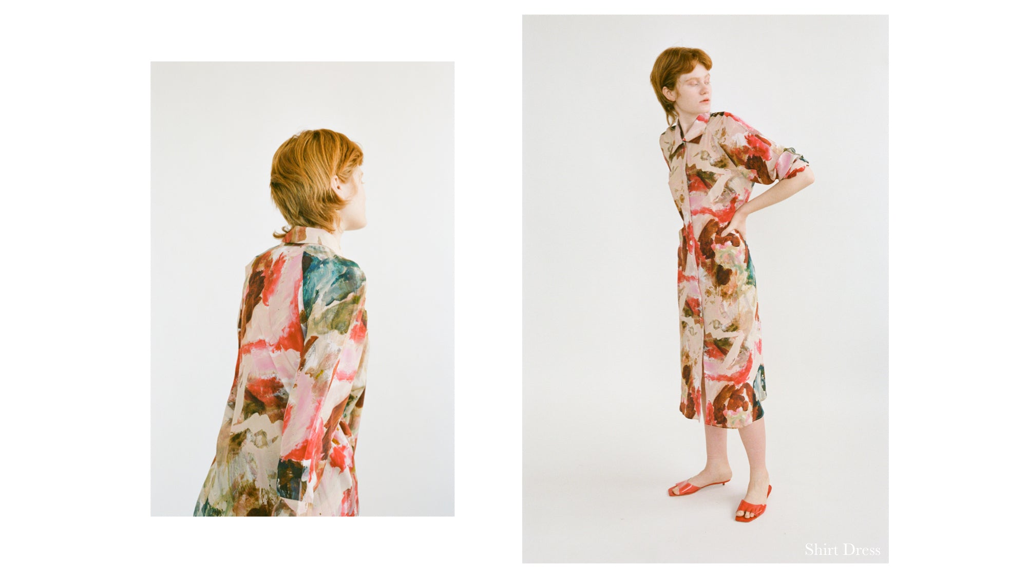 WRAY PF20 Lookbook featuring our hand painted silk print inspired by William deKooning