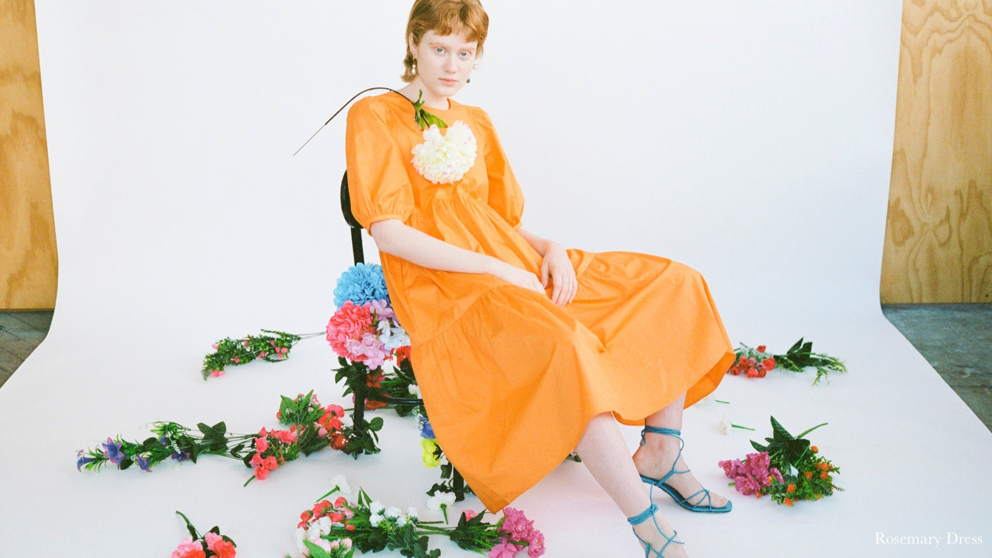 WRAY PF20 Lookbook: carrot orange Rosemary Dress with puff sleeves and tiered hemline