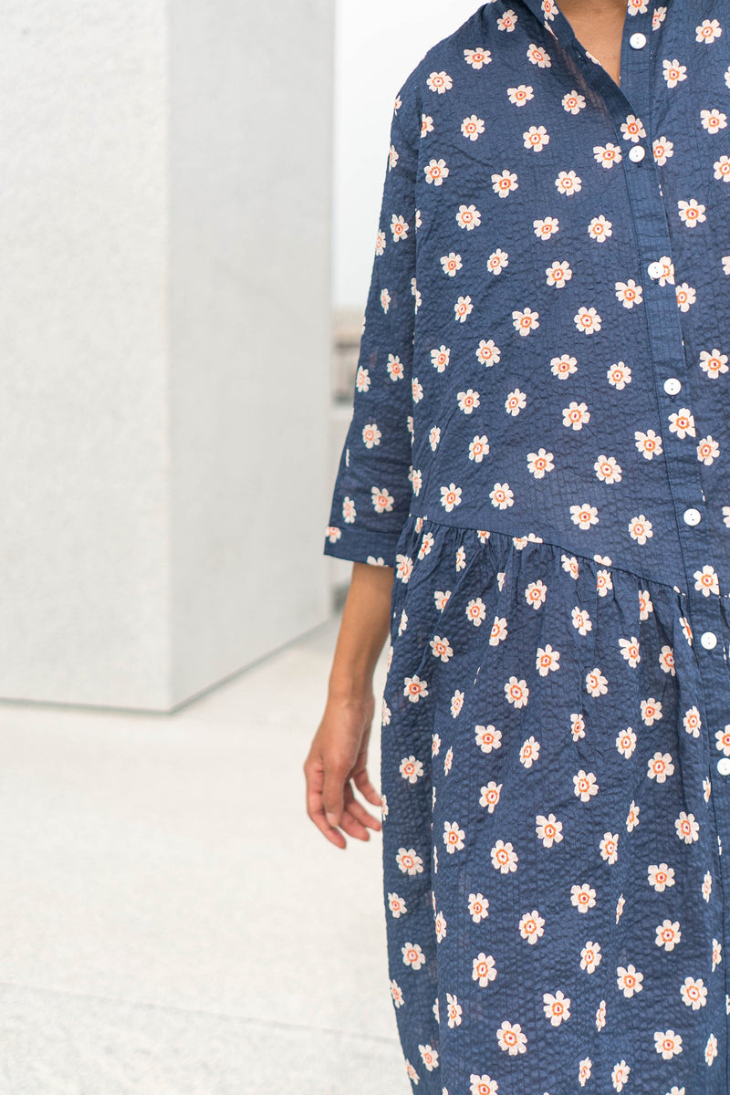 Gathered Shirt Dress - Poppy Scatter Dresses WRAY