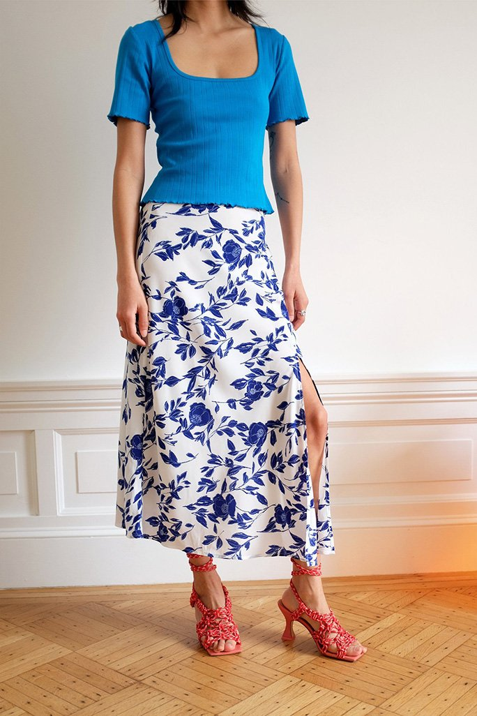 Slit Skirt - Pottery Floral Bottoms WRAY