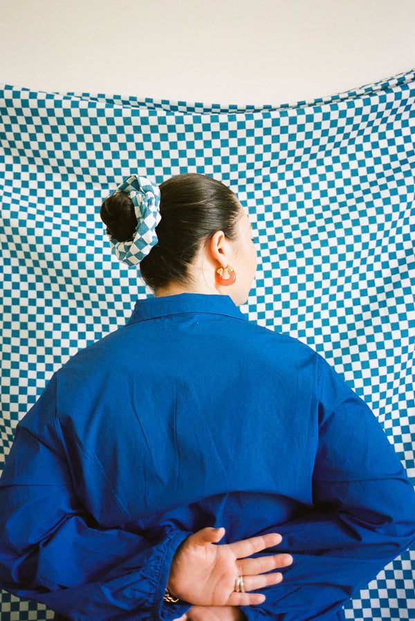 Scrunchie - Aqua Check Accessories WRAY
