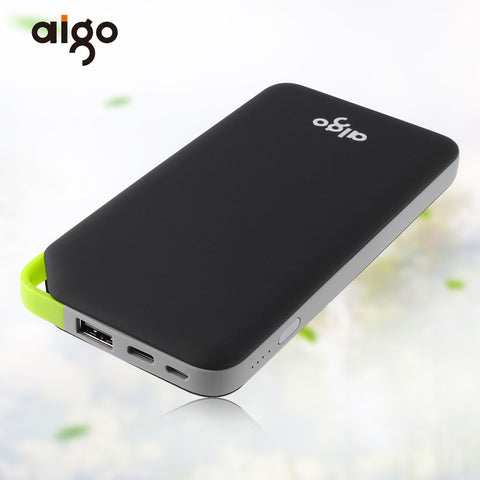 Aigo Power Bank 10000mAh Type C Micro USB 2 Inputs Portable Charger External Battery Powerbank for Iphone 6 6s 7 7s for Xiaomi
