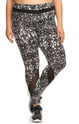 BLACK & WHITE FLORAL PRINT LEGGINGS