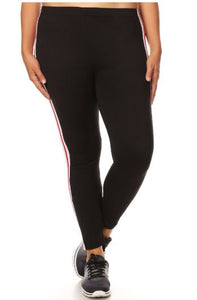SPORT LEGGING W/ RED STRIPE PANEL