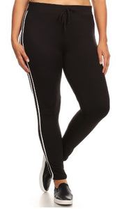 SPORT JOGGER PANT W/ WAIST TIE & STRIPED PANEL