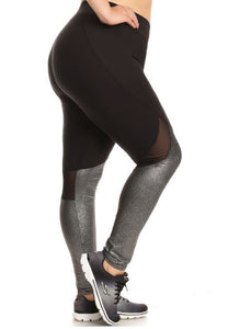 METALLIC LEGGING W/MESH PANEL