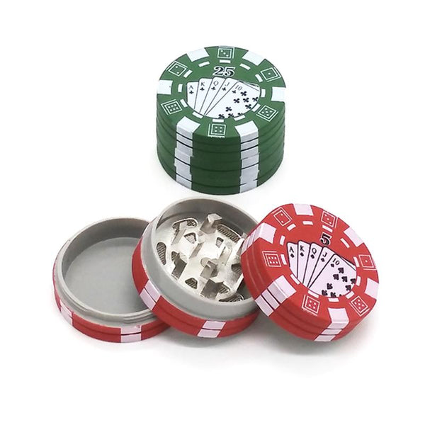Red Portable Smoke Poker Chip Herb Grinder