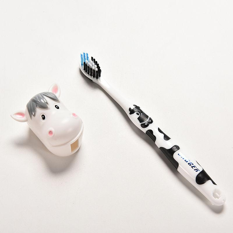 1 Pcs Cartoon Children's Toothbrush With Free Animal Holder