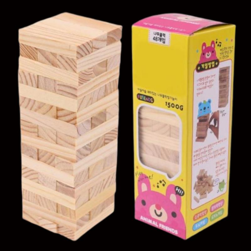 Animal Friends Jenga Classic Balance Building Blocks Game 48PCS