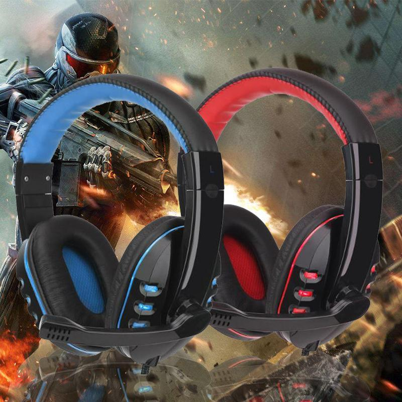 Professional USB 3.5mm Wired Computer Gaming Headset W/MIC Red