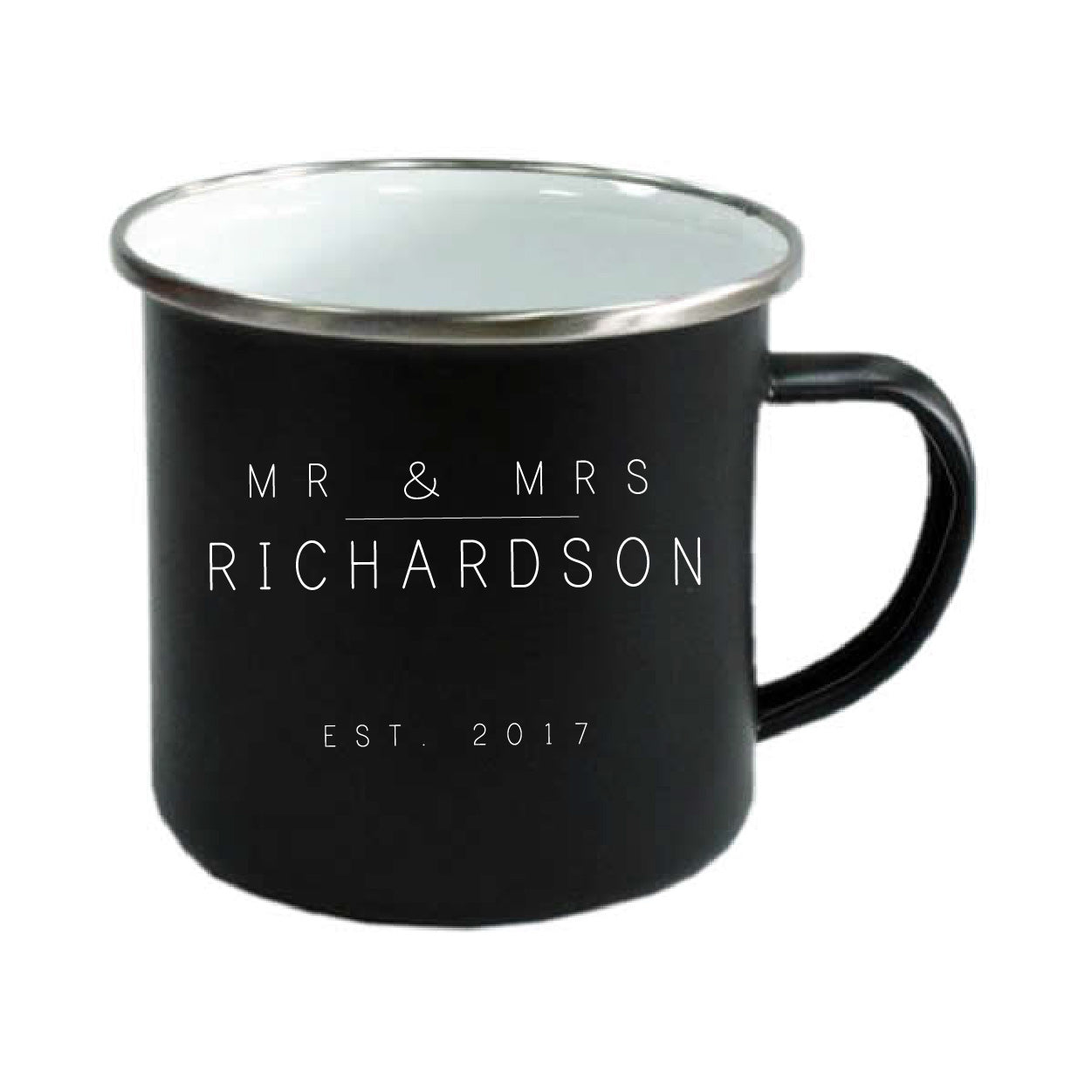 Personalised black enamel camping mug