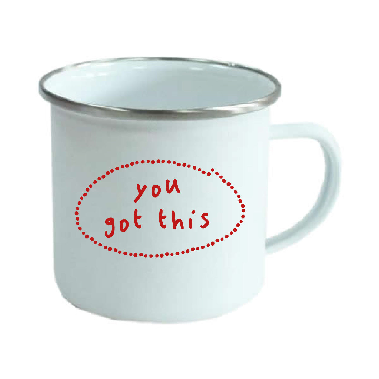 Personalised white enamel mug