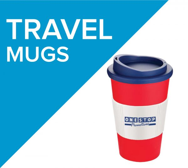 Coffee and Tea on the go with our range of promotional travel mugs