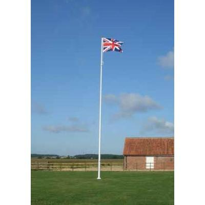 Fibreglass flagpole with hinged base plate