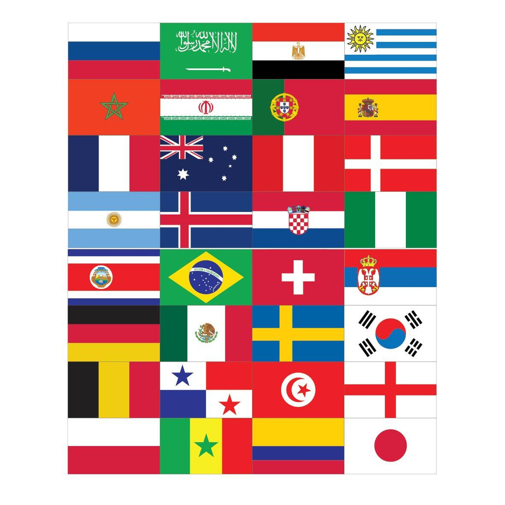 2018 World Cup Flag Pack - 5ft x 3ft Flags