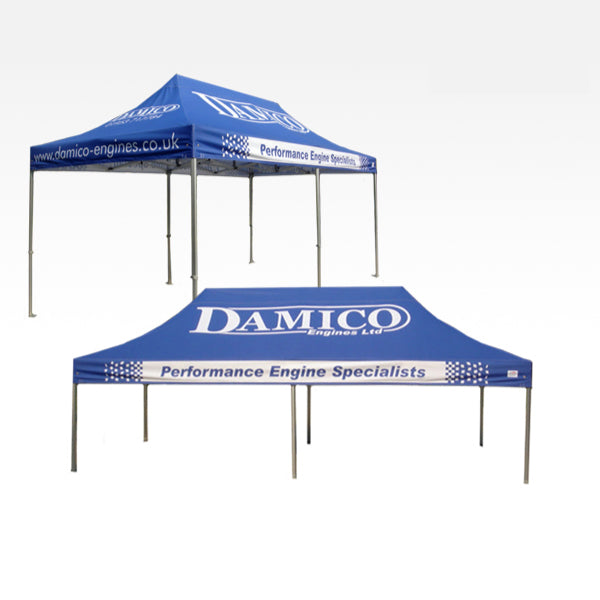 Gazebo with printed valance