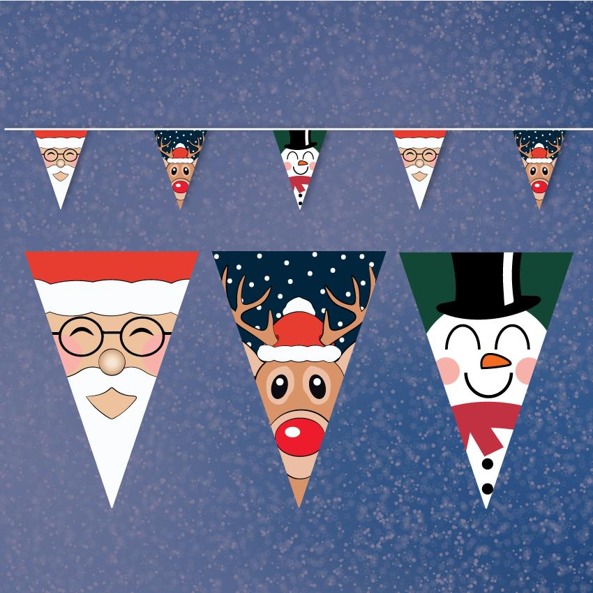 Merry Christmas Characters Bunting