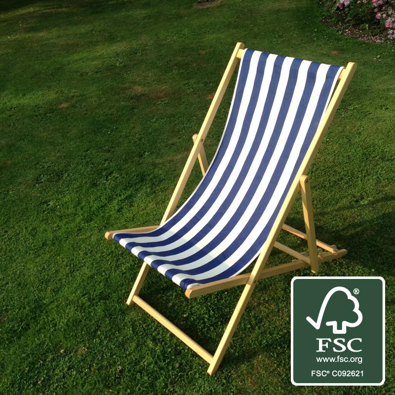Blue & White Striped Deckchair