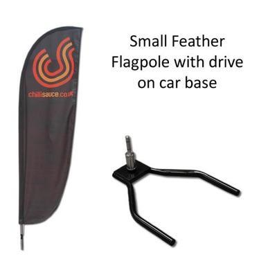 Small Feather Flag with Drive on Car Base