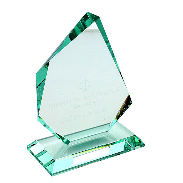 15 x 12.5cm Jade Glass Facetted Ice Peak promotional Award