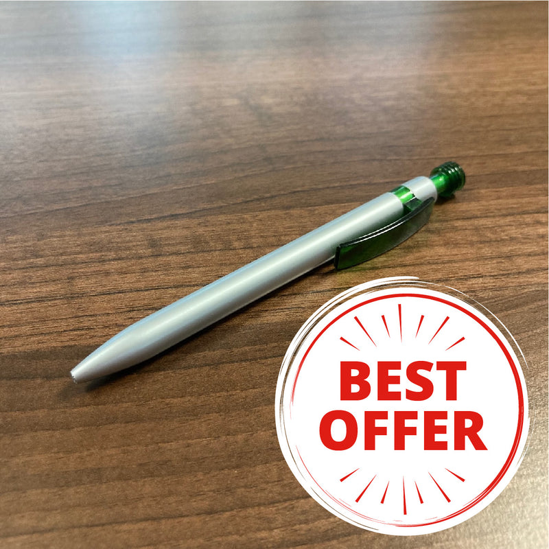 25 printed pens for £45! Silver Lantern Pen Green Clip