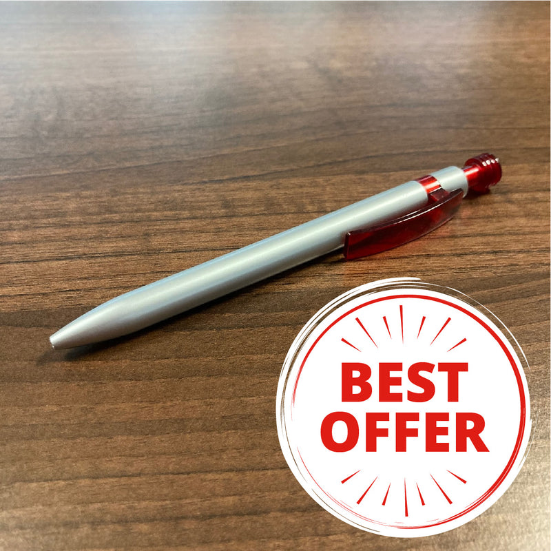 25 printed pens for £45! Silver Lantern Pen Red Clip