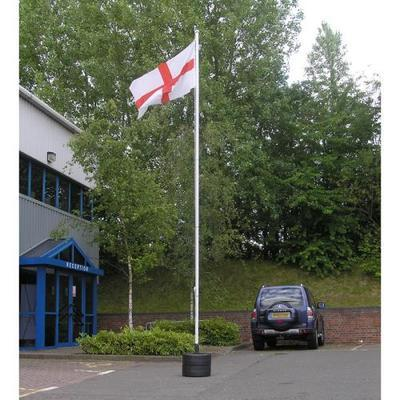 Universal flagpole with twin millstone base