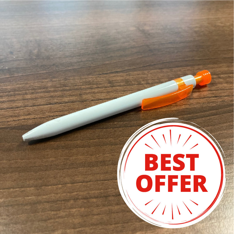25 printed pens for £45! White Lantern Pen Orange Clip