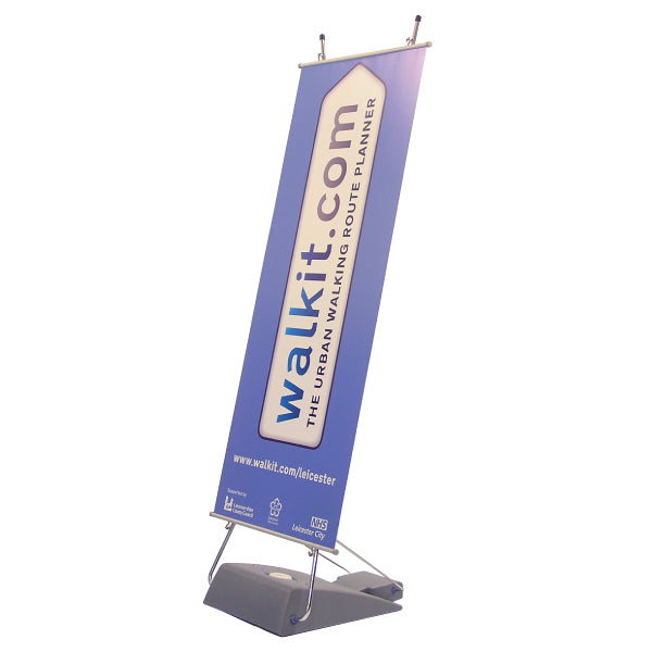 Outdoor banner display with water fillable sand base