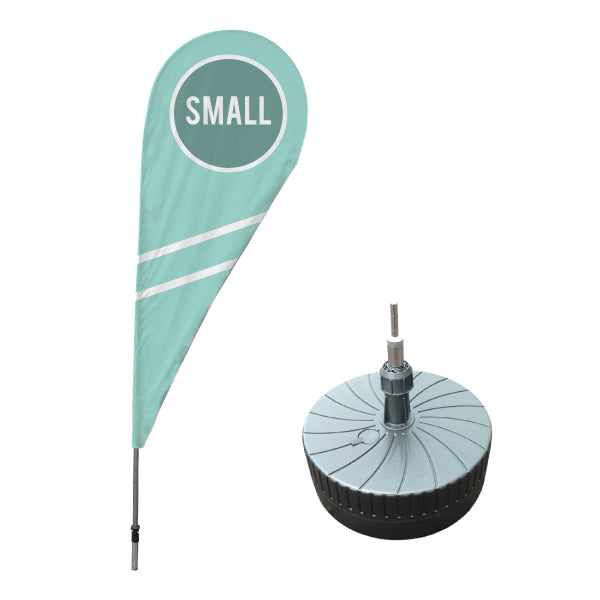 Small teardrop flag with millstone base