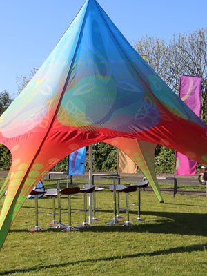 Star Tent with custom printed canopy