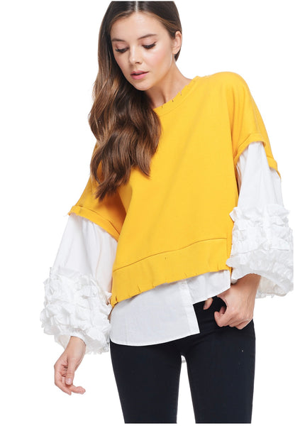 YELLOW & White Samba Sleeve Top
