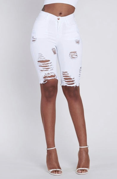 White Distressed Bermuda Shorts